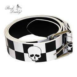belt ROCK DADDY BLACK/WHITE CHECKER DESIGN WITH WHITE SKULLS