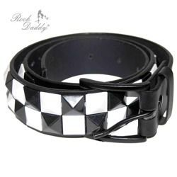 belt ROCK DADDY PYRAMIDES 2 ROWS IN BLACK/WHITE