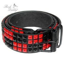 belt ROCK DADDY PYRAMIDES 4 ROWS BLACK/RED