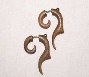 earrings ROCK DADDY WOOD SPIRAL FAKE