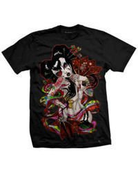 short sleeve T-Shirt DARKSIDE GEISHA FAN BLACK