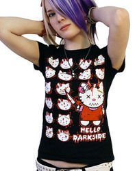 short sleeve T-Shirt DARKSIDE KITTY HEADS