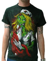 short sleeve T-Shirt DARKSIDE NURSE ZOMBIE WASH VINTAGE
