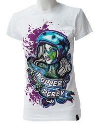 short sleeve T-Shirt DARKSIDE ROLLER DERBY WHITE