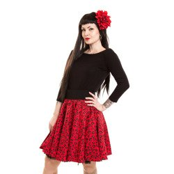 skirt POIZEN INDUSTRIES SWING HEART LEO RED