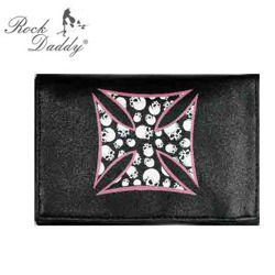 wallet ROCK DADDY SKULL ROSE CROSS, IN THE CROSS ARE SKULLS