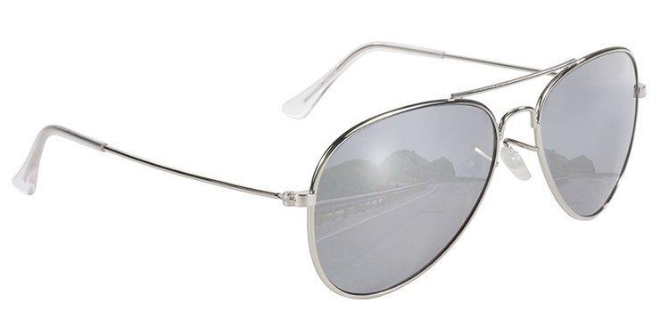 Motorcycle Sunglasses Kickstart Aviator, Silver Mirror Frame Sunglasses