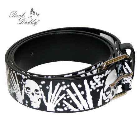 belt ROCK DADDY CHECKER BLACK WITH WHITE SKULLS