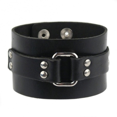 bracelet ROCK DADDY LEATHER BLACK BAND WITH STRIP AND BUCKLE