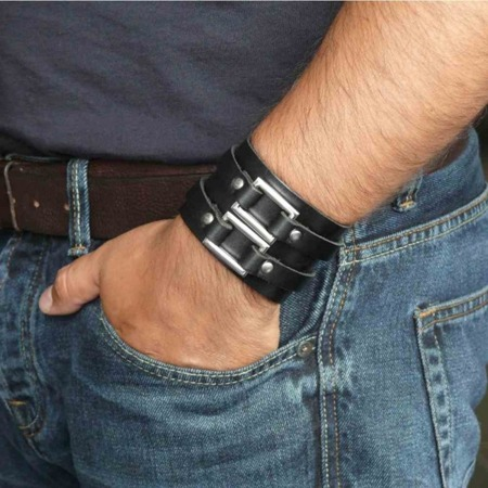 bracelet ROCK DADDY LEATHER WRISTBAND WITH TWO METAL BUCKLE
