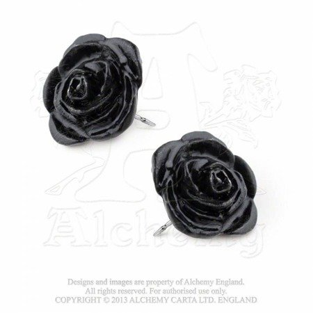 earrings ALCHEMY GOTHIC BLACK ROSE