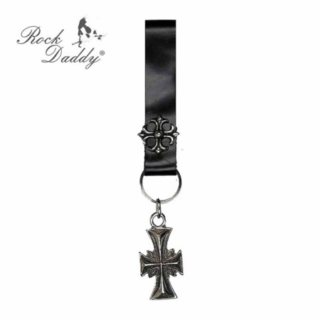 key ring ROCK DADDY CROSS AND BLACK LEATHER BAND 01