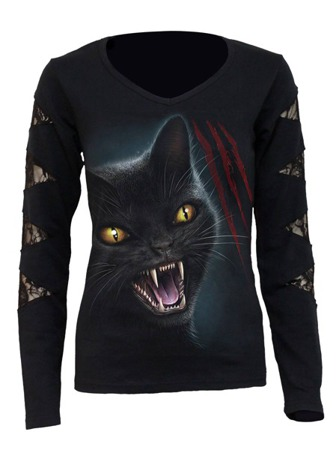 long sleeve T-Shirt SPIRAL FELINE FURY