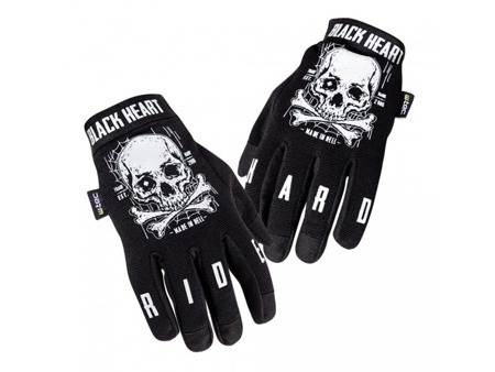 motorcycle gloves BLACK HEART W-TEC WEB SKULL