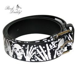 pasek ROCK DADDY CHECKER BLACK WITH WHITE SKULLS