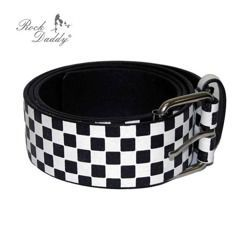 pasek ROCK DADDY CHECKER DESIGN IN BLACK/WHITE