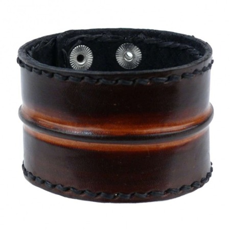 bransoleta ROCK DADDY LEATHER WRISTBAND BROWN