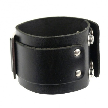 bransoleta ROCK DADDY LEATHER WRISTBAND WITH METAL BUCKLE