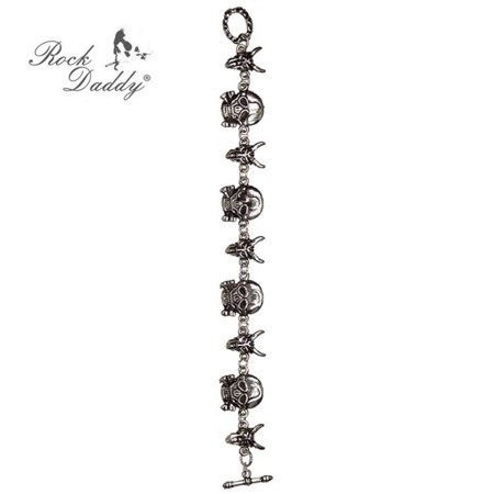 bransoleta ROCK DADDY SILVER COLOURED SKULLS
