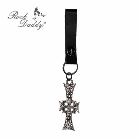 brelok do kluczy ROCK DADDY CROSS AND BLACK LEATHER BAND 02