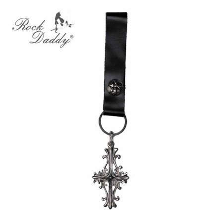 brelok do kluczy ROCK DADDY CROSS AND BLACK LEATHER BAND 03