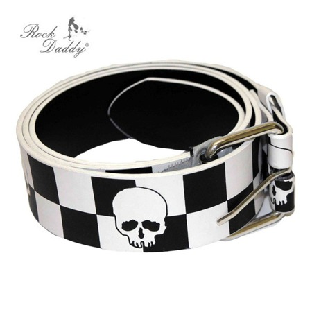 pasek ROCK DADDY BLACK/WHITE CHECKER DESIGN WITH WHITE SKULLS