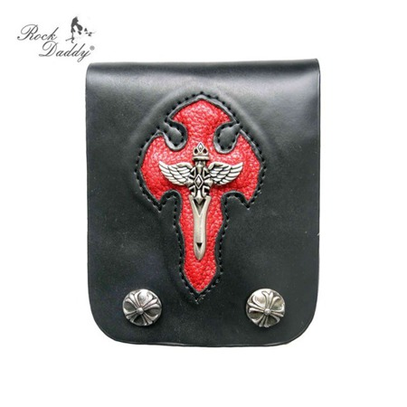 portfel ROCK DADDY WITH RIVETS IN BLACK/RED
