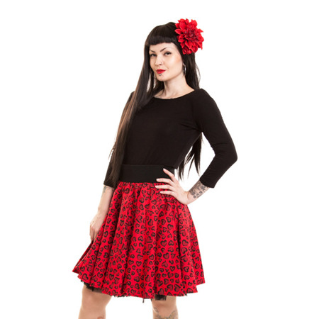 spódnica POIZEN INDUSTRIES SWING HEART LEO RED